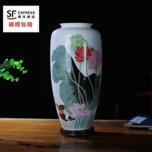 醴陵瓷釉下五彩客廳玄關擺件手繪陶瓷花瓶四花鴛鴦送禮可定制