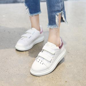 兒童運動鞋女童鞋2019新款春款休閑板鞋學生女孩中大童小白鞋真皮