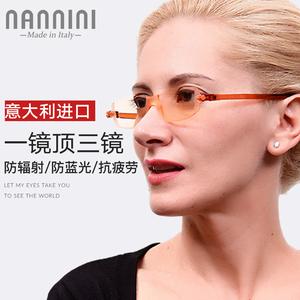 進口高清防藍光輻射老花鏡男女輕薄時尚電腦遠近兩用護目老光眼鏡