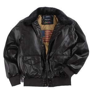 复古oversized美国空军皮毛一体男女飞行员情侣皮衣机车毛领外套