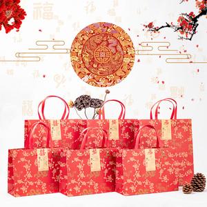 各种节日生日做寿结婚囍事送礼毛巾包装礼品袋厚红色手提牛皮纸袋