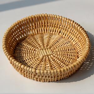 藤編饅頭筐柳編面包饃籃子家用廚房桌面玩具編織收納筐雞蛋水果盤