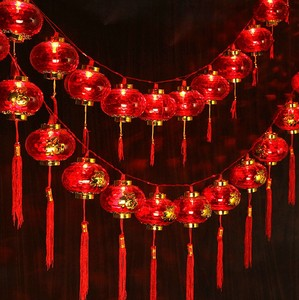 水晶發光LED小紅燈籠新年布置彩燈閃燈串燈帶電塑料燈籠串彩燈條