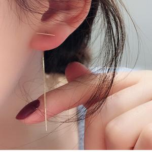 韓款純銀925鍍14k光面一字長條盒子鏈長款耳線女玫瑰金流蘇耳飾