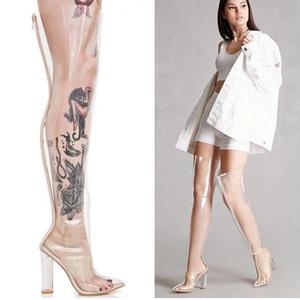 超高跟全透明水晶长靴子粗跟长筒过膝靴尖头大码女鞋走秀舞台表演