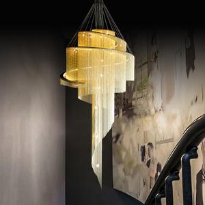 后现代复式楼大吊灯挑空客厅别墅展厅金色酒店工程流苏旋转楼梯灯