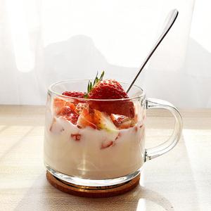 ins玻璃杯牛奶早餐杯大肚杯碗带盖勺套装 耐热咖啡花茶杯子啤酒杯