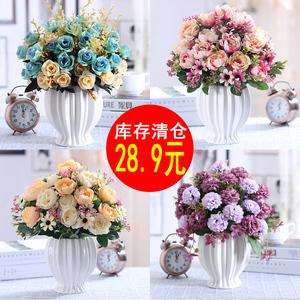 仿真玫瑰花束假花绢花干花艺塑料客厅摆设餐桌室内摆件装饰花盆栽
