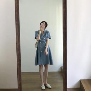 Nnzes法式小众智熏裙子2019新款夏季复古收腰显瘦气质V领连衣裙女