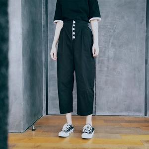 泡菜的店 黑色七分裤女薄款 夏季坠感直筒裤高腰显瘦宽松休闲裤女