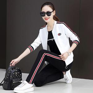 2019秋装新款韩版时尚宽?#23578;?#38386;运动套装女春秋卫衣三件套棒球服潮