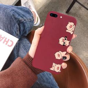 iPhone7plus手机壳苹果6s女款潮牌红色超薄磨砂软壳6全包防摔8plus情侣可爱卡通5s超萌本命年5硅胶软壳保护