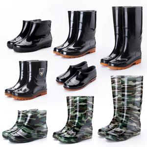 保暖中高筒雨鞋男士耐磨工作水靴短筒套鞋低幫牛筋底防滑塑膠棉鞋
