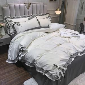 ins北歐風蕾絲花邊公主風四件套床單床笠白灰色被套被單床上用品2