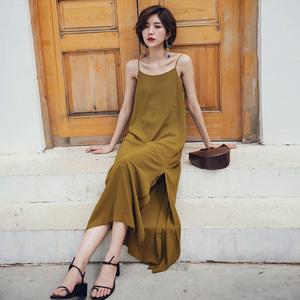 泰國吊帶開叉連衣裙巴厘島海邊度假長裙夏性感露背沙灘裙顯瘦超仙