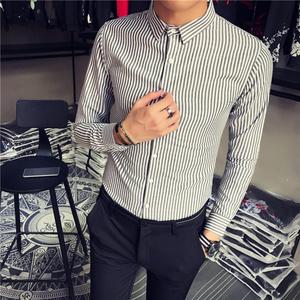 矮小個子小號條紋襯衫韓版修身S碼XS碼學生長袖襯衣155小碼男裝