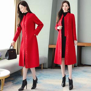本命年紅色衣服結婚過年毛呢外套女中長款刺繡氣質精品尼子大衣潮