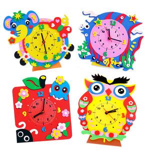 幼儿园儿童手工制作粘贴玩具 创意diy卡通时钟 3d立体eva贴画材料
