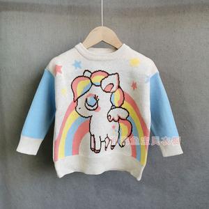 可可自留款 19女童秋冬小馬彩虹撞色純棉雙層毛衣兒童套頭針織衫