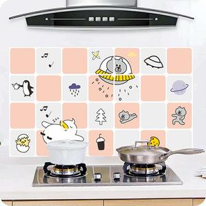 厨房墙纸防水防油自粘墙体用壁纸卡通可爱贴纸耐高温防火灶台自贴