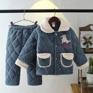冬季兒童睡衣三層加厚夾棉寶寶男孩女童大童珊瑚絨保暖家居服套裝