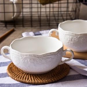 景德镇纯白色家用无铅骨瓷浮雕陶瓷双耳碗汤盅瓷器浓汤碗