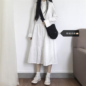小個子裙子仙女超仙森系長裙及踝bf風學生可愛甜美日系學院連衣裙