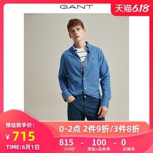 GANT/甘特2020春夏新品男士Tech Prep下扣領印花長袖襯衫3024030