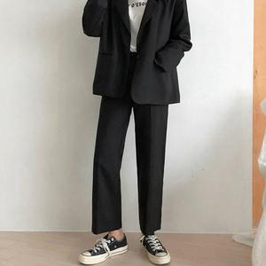 阔腿裤子女2019新款春秋高腰宽松九分直筒垂感黑色休闲西装裤女裤