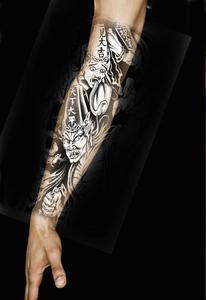 黑白无常半臂纹身贴男女 日韩彩绘防水持久逼真花臂刺青纹身贴纸图片