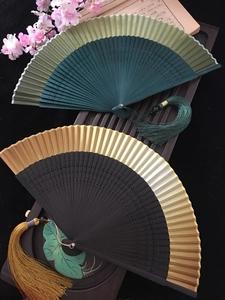江戶日式日本和風折扇子和服扇真絲女扇小花雕刻漸變空白扇金色綠