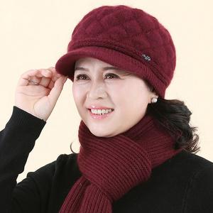 中老年人帽子女冬季妈妈帽奶奶老太太帽保暖秋冬天老人毛线帽围巾