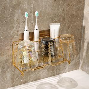 衛生間免打孔牙刷置物架漱口杯刷牙杯牙缸套裝掛墻式壁掛式收納架