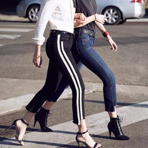 竖条牛仔裤
