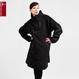 黛藝冬裝棉衣 民族風原創 條絨蕾絲花邊長款棉衣大衣 大碼女 特價