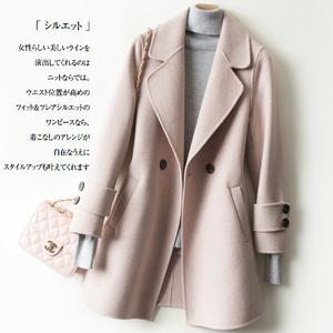 反季清?#20013;?#27454;高端斜纹双面呢羊绒大衣女中长款毛呢外套西装外套