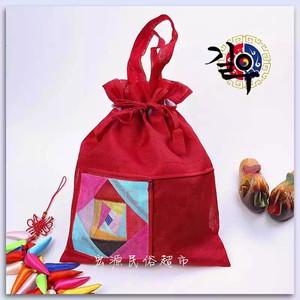 彩条布袋韩是民俗工艺品收纳袋布艺袋竹节纱袋福袋大号兜多用