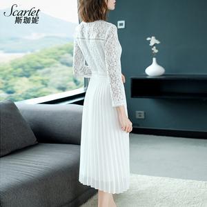 白色雪紡蕾絲連衣裙秋裝2019年新款秋季春秋長袖中長款氣質裙子潮