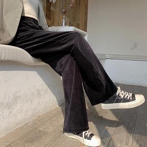 灯芯绒阔腿裤女秋冬高腰宽松直筒加绒垂感毛呢条绒金丝绒休闲裤子