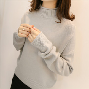 半高領寬松毛衣女士套頭2019秋冬新款慵懶洋氣加厚內搭針織打底衫