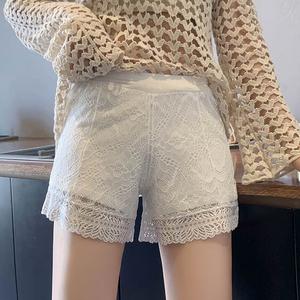 居家可外穿安全褲女防走光寬松打底褲短褲蕾絲夏季白色薄款不卷邊
