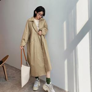 2019新款秋季韩版休闲宽松中长款翻领大口袋风衣女chic外套潮