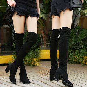 加绒过膝长靴子女2019冬季新款韩版粗跟显瘦弹力靴长筒靴女鞋子潮