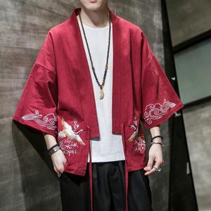 唐裝男外套中國風復古刺繡披風漢服男古風男士仙氣男款紅色道袍潮