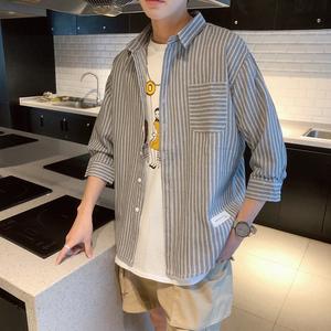 條紋襯衫男士七分袖襯衣韓版潮流帥氣休閑情侶上衣服秋季長袖外套