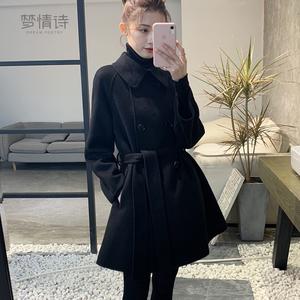双面羊绒大衣女2019秋冬新款中长款小个子斗篷流行韩版羊毛呢外套