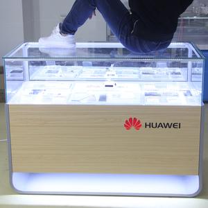 華為3.0手機柜臺新款中島小米中國移動烤漆木紋玻璃led燈展示柜