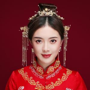 2019新款新娘古裝頭飾秀禾服中式婚禮金色發飾流蘇步搖漢服配飾