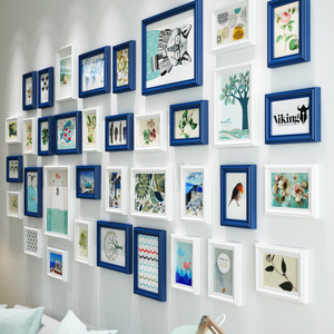 欧锋客厅大墙面?#30340;?#29031;片墙挂墙相框创意组合墙饰欧式墙面装饰画