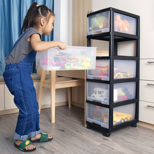 兒童玩具收納箱寶寶零食抽屜式收納盒家用塑料整理箱多層儲物柜子